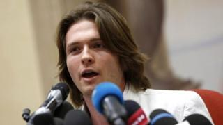Raffaele Sollecito speaks to journalists at a press conference in Rome - 1 July 2014