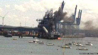 Tilbury conveyor fire