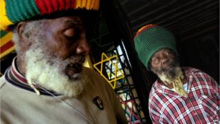 Papa Rocky (left) and another member of the Nyabinghi Rastafarian mansion