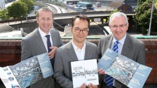 Translink Infrastructure Executive Clive Bradberry, design team lead architect Hiro Aso and Danny Kennedy
