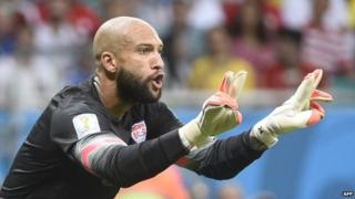 US goalkeeper Tim Howard reacts during a Round of 16 football match between Belgium and USA at Fonte Nova Arena in Salvador during the 2014 FIFA World Cup 1 July 2014