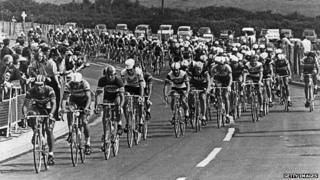 Tour de France riders on the Plympton bypass