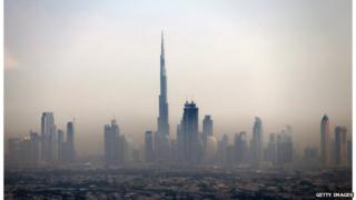 The Burj Khalifa and Dubai skyline