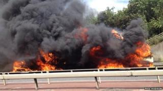 Hay bale fire on M40