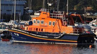 Daniel L Gibson lifeboat in Guernsey's St Peter Port Harbour