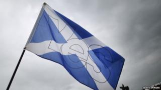 "Scottish Saltire flag caries a ""Yes"" for Independence at the Bannockburn Live event"