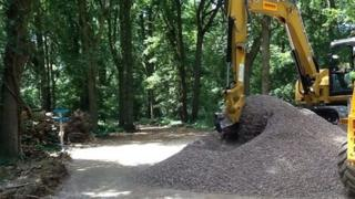Construction work at Horse Hill ahead of exploratory drilling for oil