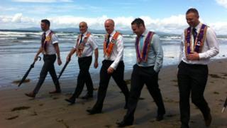 Orangemen on the beach in Rossnowlagh