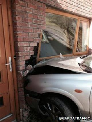 A window and wall were badly damaged in the incident which happened in Finglas on Sunday morning