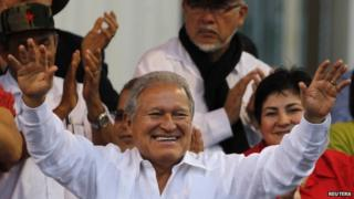 President Salvador Sanchez waves to the crowd after his swearing-in ceremony. 02/06/2014