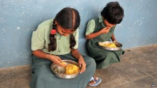 "Papers say for many in India ""getting two meals a day may be difficult"""