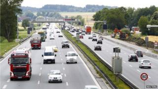 Vehicles along road near Munich
