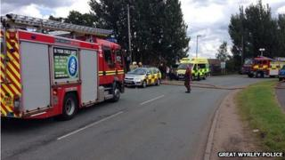 Crews were called to Cheslyn Dispersions Ltd in Landywood Lane, Cheslyn Hay, just after 12:00 BST.