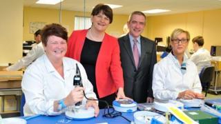 Arlene Foster with Declan O'Mahoney, Shauna Heggarty and Eileen Ervin of HeartSine
