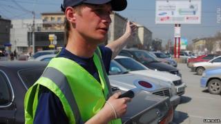 Kiev parking attendant