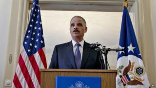 US Attorney General Eric Holder speaks at the US ambassador's residence in Oslo Tuesday 8 July 2014