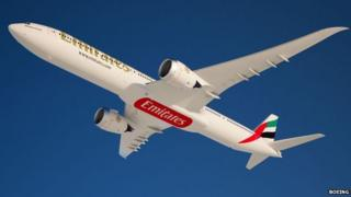 A picture of a 777X in Emirates livery