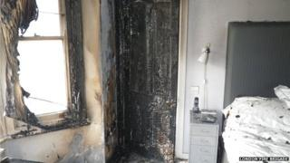 The room in a Clapham house where the fire started