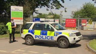 Police car at Williton Recycling Centre