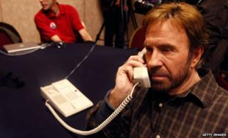 Chuck Norris talking on the phone