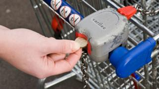 Putting a coin in supermarket trolley