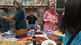 Turks at market in Kreuzberg - file pic