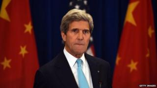 US Secretary of State John Kerry listens to a question at a press conference following the end of talks at the US-China Strategic and Economic Dialogue, in Beijing 10 July 2014