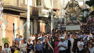 Religious procession in Oppido Mamertina. 2 July 2014