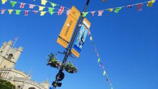 Tour de France bunting in Cambridge