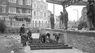 Track laying at Swanage Railway in 1977
