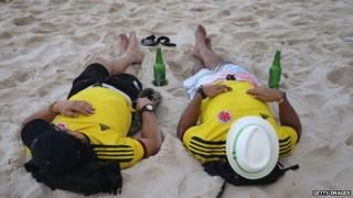 Colombia fans sleeping on Copacabana beach