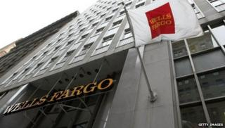 Wells Fargo sign at its office