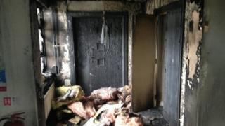 The interior of the Dunanney Centre after the petrol bomb attack