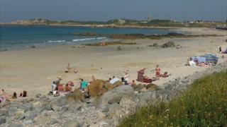 Beachgoers on L'Ancresse Bay, Guernsey