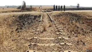 Empty trackbed left by metal thieves in Nigel, Gauteng Province, in July 2014