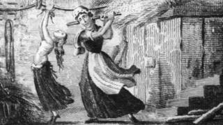 Drawing of Elizabeth Brownrigg beating apprentice Mary Clifford