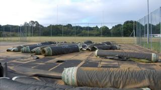 Footes Lane hockey pitch - old surface rolled up