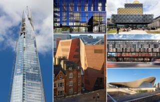Riba shortlisted buildings, from left, clockwise: Shard, Manchester School of Art, Library of Birmingham, , Everyman Theatre, London Aquatics Centre, Saw Swee Student centre