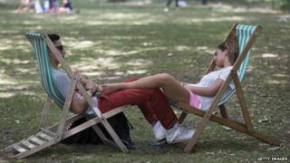 People in deckchairs in St James's Park, London