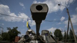 Ukrainian troops in Ukrainian town of Seversk July 2014