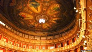 The restored ceiling at Teatro Colon, Bogota