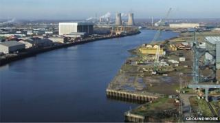River Tees from the Transporter Bridge in Middlesbrough
