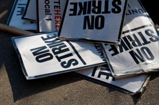 Strike banners