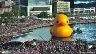 People gather to see the yellow duck in Taiwan