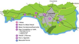 Map ardal Eisteddfod Genedlaethol Sir Gâr 2014