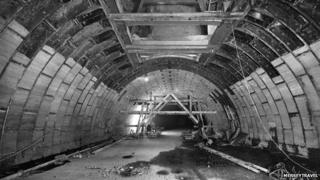 Queensway tunnel in Liverpool during construction