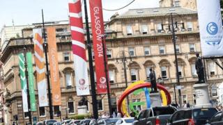 Glasgow 2014 banners in city