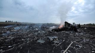 Wreckage of crashed plan