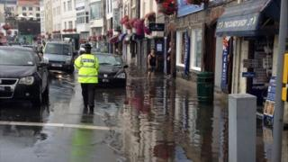 Flooding on Guernsey seafront