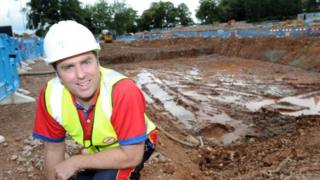 Gary Humpage in front of new pool